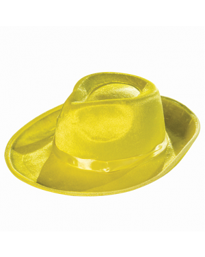 Deluxe Yellow Fedora Hat With Yellow Ribbon