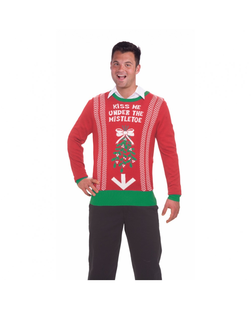 Mens Christmas Sweater.Kiss Me Under The Mistletoe Ugly Christmas Sweater