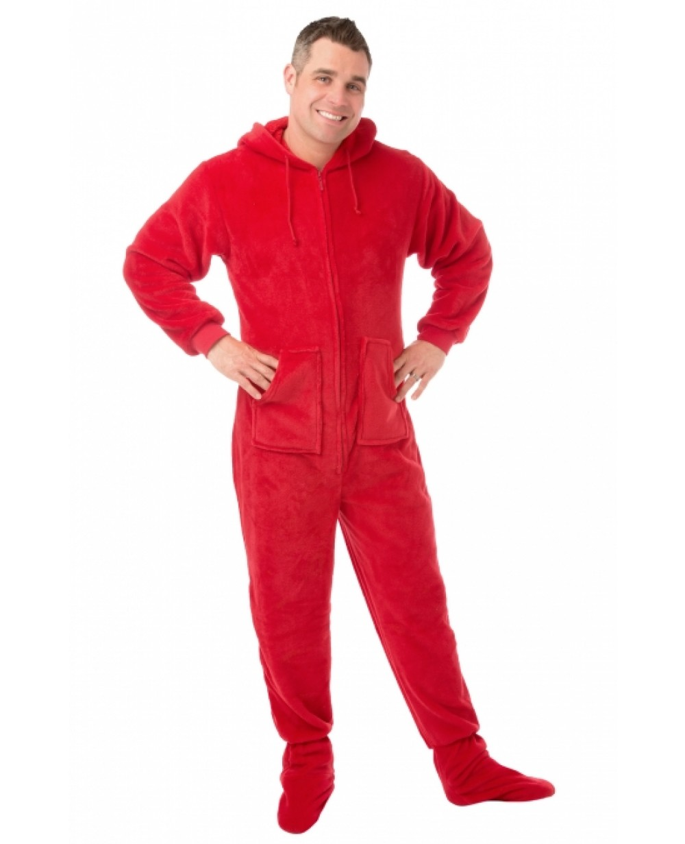 Red Plush Hooded Adult Footed Pajamas