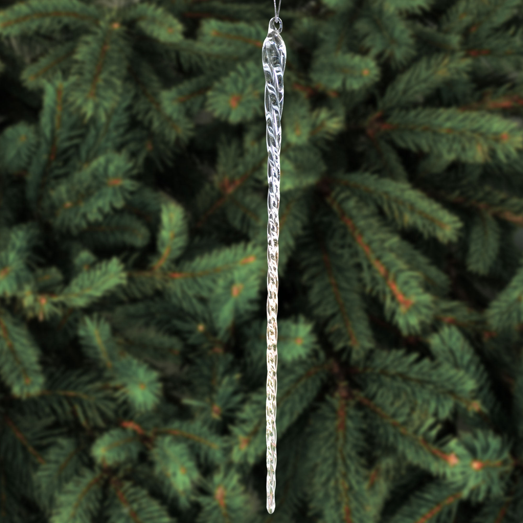 Christmas Decorations Icicle Ornaments: 14 Inch Clear Glass Icicle Ornaments Christmas Tree