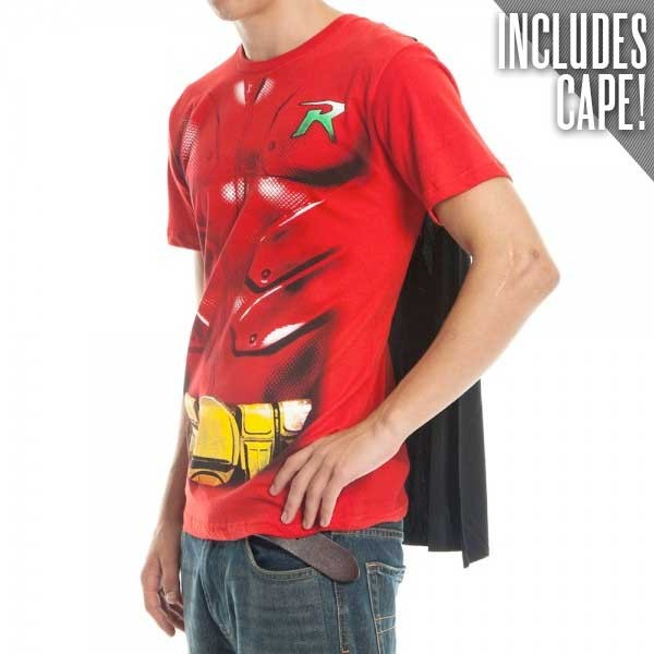 Robin Caped Adult V Neck T Shirt Costume Batman Mens Cape