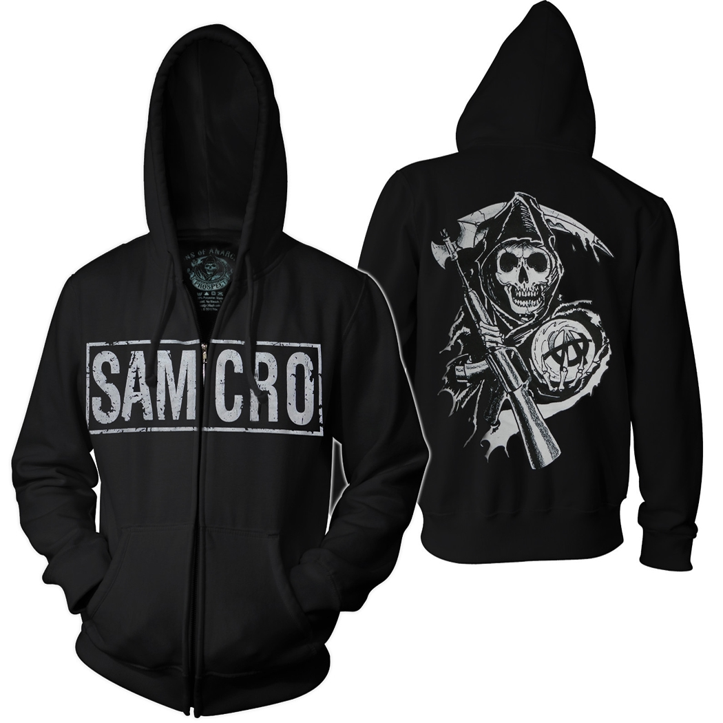 sons of anarchy adult full zip up hoodie reaper samcro. Black Bedroom Furniture Sets. Home Design Ideas