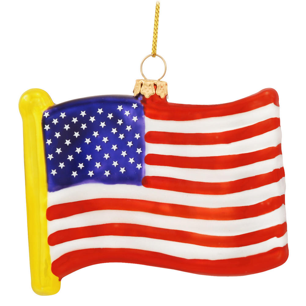 Usa flag glass ornament american united states christmas
