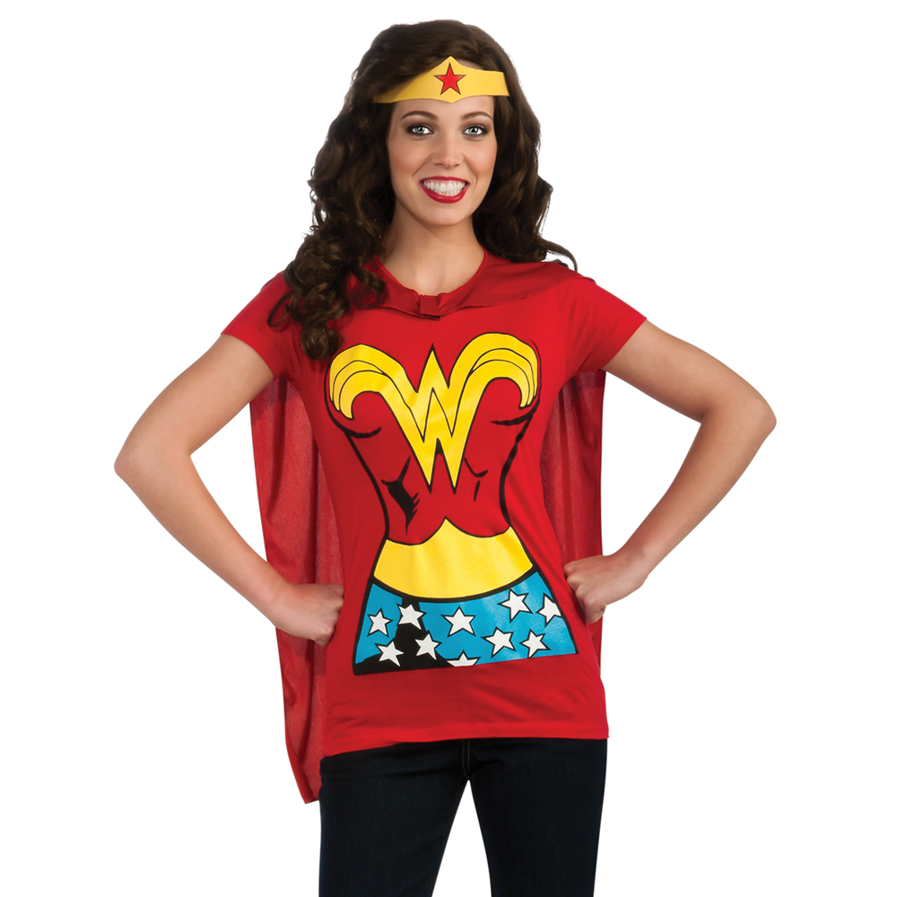 Wonder woman womens t shirt costume kit shirt crown cape for Costume t shirts online