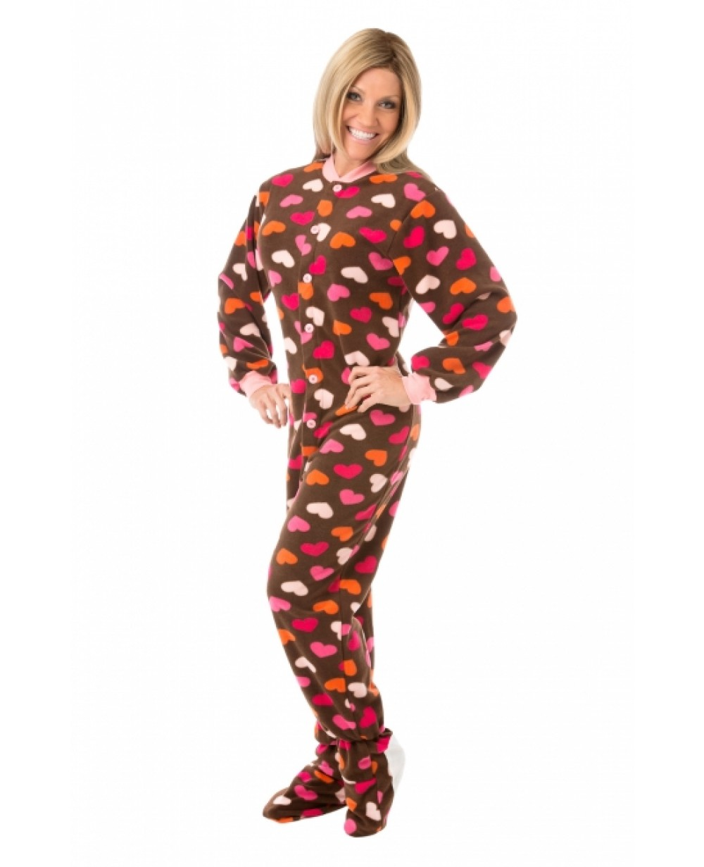 Brown Footie Pajamas For Adults - Breeze Clothing
