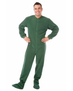 Hunter Green Fleece Adult Footed Pajamas