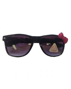 Black Wayfarer Sunglasses With Pink Bow
