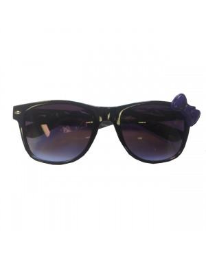 Black Wayfarer Sunglasses With Purple Bow