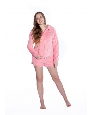 Pink Plush Hoodie with Shorts