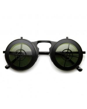 Flip Up Bullseye Black Sunglasses