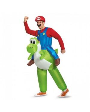 Mario Riding Yoshi Inflatable Adult Acostume